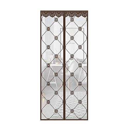 Price comparison product image Mosquito Mesh Curtain Magnetic Doors and Windows with Thick Grid Curtains to Cover All Insects Fully Automatic Shut-Off Magnets,  velocidad,  Brown,  90x200cm(35x79inch)