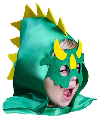 Dinosaur Costume Cape with Spiked Hood and Mask Set Green for Imaginative Play Boys Girls -