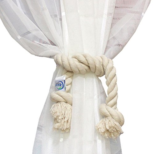 1 Pair Cotton Rope Holdback Handmade Curtain Decorative Tiebacks by ZHH ,35 Inch