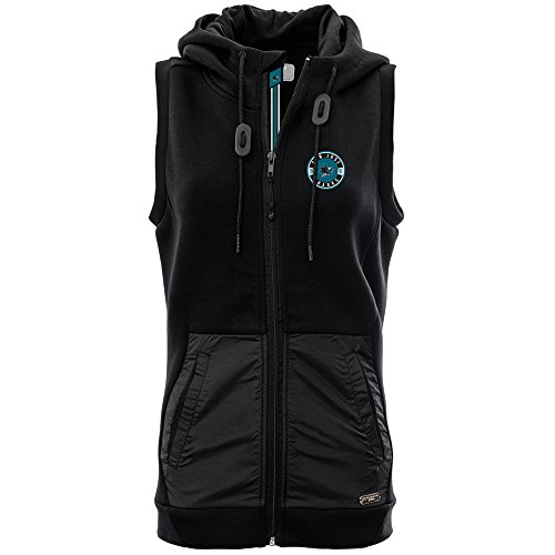 Levelwear LEY9R NHL San Jose Sharks Adult Women Iris Banner Stripe Full Zip Hooded Vest, Large, Black