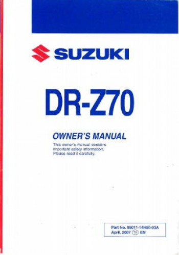 Download 99011-14H50-03A 2008 Suzuki DR-Z70K8 Motorcycle Owners Manual pdf