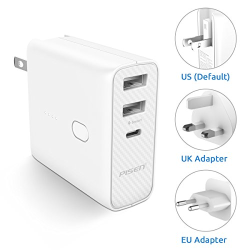 External Portable Power Adapter (Pisen 2-in-1 Portable Charger and Wall Charger Folding AC Plug with USB-C Output 5000mAh External Battery Plus UK EU International Adapter For iPhone, iPad, Samsung Galaxy Bluetooth Speaks and More)