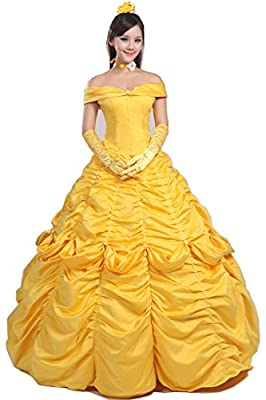 Topcosplay Womens Belle Dress Costume Layered Cosplay Halloween Costume for Adult Girls