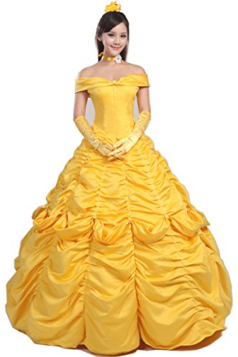 [Topcosplay Womens Belle Dress Costume Layered Cosplay Halloween Costume for Adult Girls] (Belle Halloween Costumes For Women)