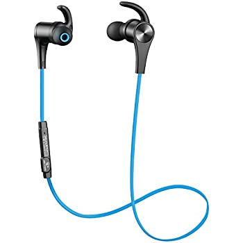 SoundPEATS Bluetooth Headphones In Ear Wireless Earbuds 4.1 Magnetic Sweatproof Stereo Bluetooth Earphones for Sports With Mic (Upgraded 7 Hours Play Time, Secure Fit, Noise Cancelling) - Blue