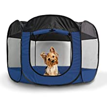 Furhaven Pet Playpen | Indoor/Outdoor Mesh Open-Air Playpen & Exercise Pen Tent House Playground for Dogs & Cats, Sailor Blue, Small