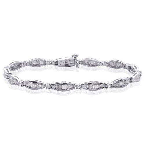 Baguette Bracelet White (10K White Gold 2 ct. Round and Baguette Cut Diamond Bracelet)