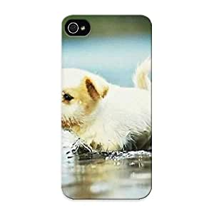 Flexible Tpu Back Case Cover For Iphone 5/5s - Cute Puppy Playing In A Puddle