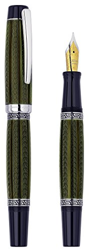 Xezo Maestro LeGrand Diamond Cut, Lacquered, Platinum Plated Fine Point Fountain Pen in Moldavite Color by Xezo Pens