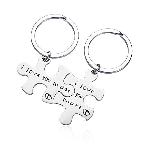 CJ&M Stainless Steel I Love You More I Love You Most Couples Keychains Set,Personalized Couples Jewelry,Perfect Gift for Boyfriend Girlfriend
