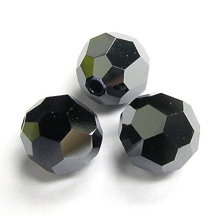 4bb24224f31dc Amazon.com: 6 pcs Swarovski Crystal 5000 Round Faceted Bead Jet ...
