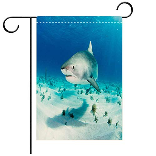 (BEICICI Garden Flag Double Sided Decorative Flags Tiger Shark Decorative Deck, Patio, Porch, Balcony Backyard, Garden or Lawn)