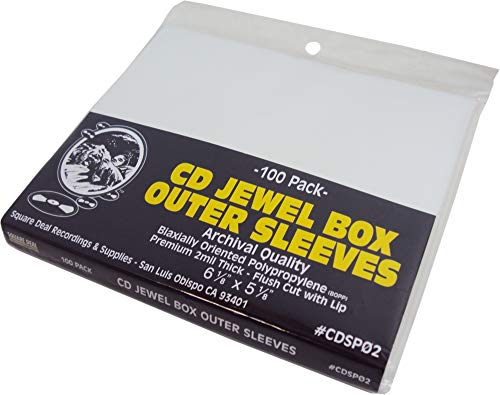 (100) CD Jewel Box Outer Sleeves - Premium 2mil Thick - Flush Cut - Archival Quality #CDSP02 ()