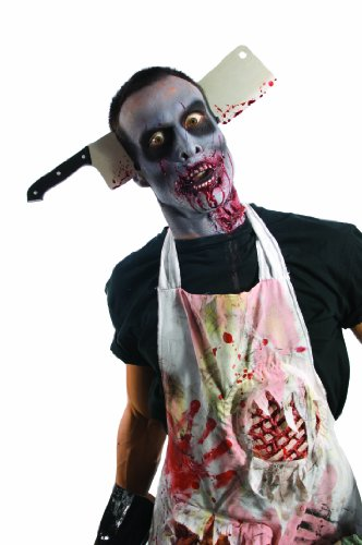 Best 2 Man Halloween Costumes (Rubie's Costume Zombie Shop Cleaver Through Head, Silver/Red/Black, One Size)
