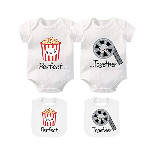 YSCULBUTOL Baby Bodysuits for Unisex Boys Girls Long Sleeve White Twin Clothes Boy Girl Perfect Together Popcorn and Movie(7-9months) ()