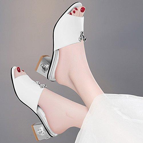 Sandals ZHIRONG Women's Summer High Heel Fashion Elegant Rhinestone Open Toe Roman Shoes Comfortable Thick Heel Slippers 5CM (Color : White, Size : EU39/UK6/CN39) White