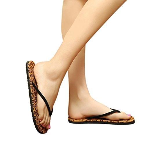 Women Flip Flops Slippers Daoroka Summer Light Weight Flat Leopard Grain Sandals Casual Soft Beach Indoor & Outdoor Shoes (US:8, Coffee) (Pc Box S Gladiator)