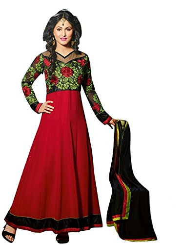 Vibes Women's Pure Georgette Unstitched Dress Materials (V209-6005_Red)