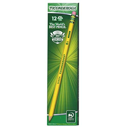 Ticonderoga DIX13806BN No. 2 Pencils, Pre-Sharpened, 12 Per Box, 6 Boxes, Wood/Graphite, Yellow (Pack of 6)