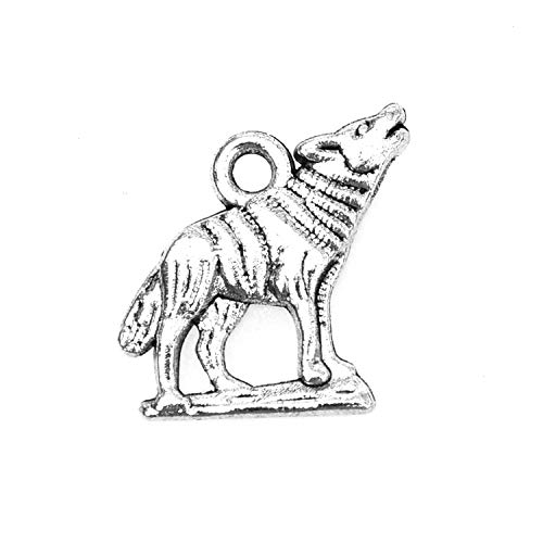 Monrocco 100 Pack Vintage Antique Silver Metal Alloy Howling Wolf Charms Pendant Bulk for Bracelets Necklace Jewelry Making