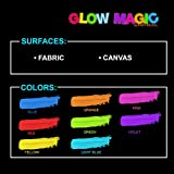 individuall Glow Magic Fabric UV Paint Set - Set of 8 – Neon Textile Black Light Paints - Fluorescent Clothing Color – for Vibrant Glowing Art Projects