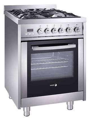 "Fagor RFA-244 DF 24"" Dual Fuel Range with 4 Gas Burners, 7 Cooking Programs and Convection Oven, Stainless Steel/Glass"