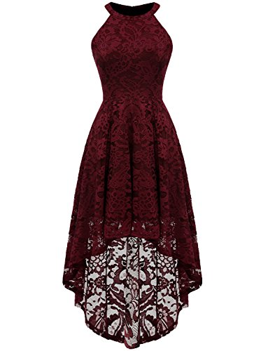 Cocktail Bridesmaids Dresses - Dressystar 0028 Halter Floral Lace Cocktail Party Dress Hi-Lo Bridesmaid Dress XXXL Burgundy