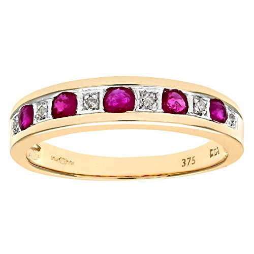 Naava Women's Eternity Ring, 9 ct Yellow Gold Diamond and Ruby Ring,...