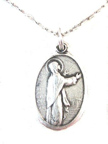 VP&P Silver Tone St Genevieve Medal Pendant Necklace 20