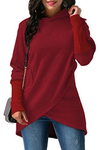 BETTE BOUTIK Womens Long Sleeves With Pocket Coat Jacket Hooded Sweatshirt Wrapped Hoodies