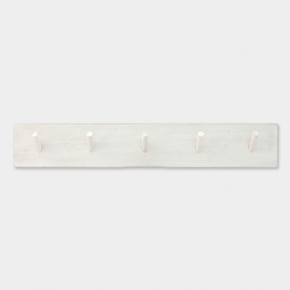 East Of India Long Wood Pegboard White 5 Coat Hooks