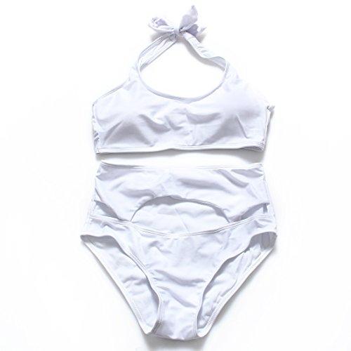 YONGYI Europa y la división de color sólido y bikini cintura altura ajustada la Sra. grabado trajes de baño spa Blanco