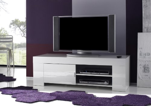 TV Schrank Eos klein mit 1 Tür, 140 x 45 x 50 cm, weiß hochglanz