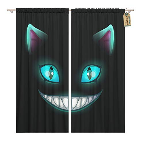 (Golee Window Curtain Blue Smile Fantasy Scary Smiling Cat Face on Cheshire Home Decor Rod Pocket Drapes 2 Panels Curtain 104 x 63)
