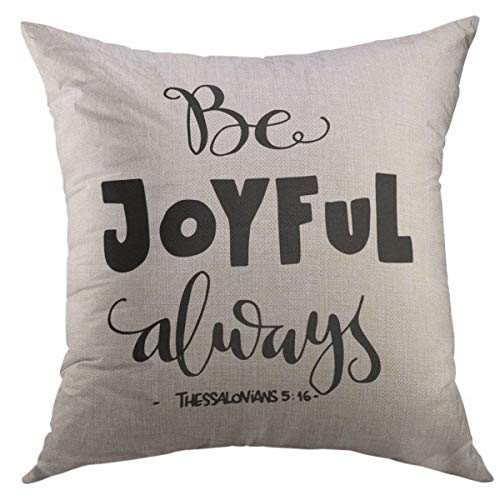 Mugod Decorative Throw Pillow Cover for Couch Sofa,Joy Be Joyful Bible Verse HLettered Quote Modern Calligraphy Christian Scripture Home Decor Pillow Case 18x18 Inch