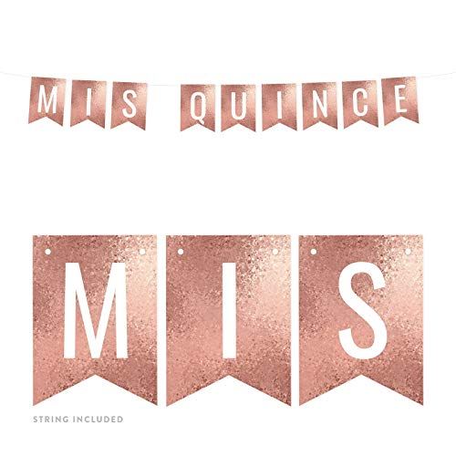 Andaz Press Rose Gold Glitter Mosaic Birthday Party Banner Decorations, Mis Quince, Approx 5-Feet, 1-Set, Quinceanera 15th Birthday Colored Hanging Pennant Decor]()
