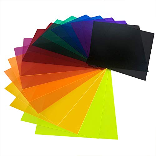 (Initial heart 18 Pack Correction Gel Light Filter Sheet Colored Overlays Transparency Color Film Plastic Sheets 11.7 by 8.3 Inches 9 Assorted Colors 2 Sets)