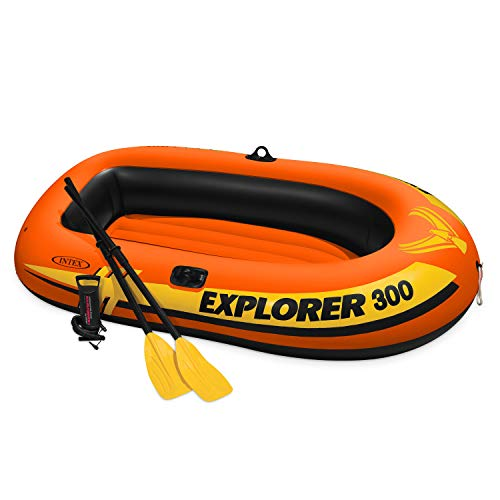Free Float Quad Rail - Intex Explorer 300, 3-Person Inflatable Boat Set with French Oars and High Output Air Pump