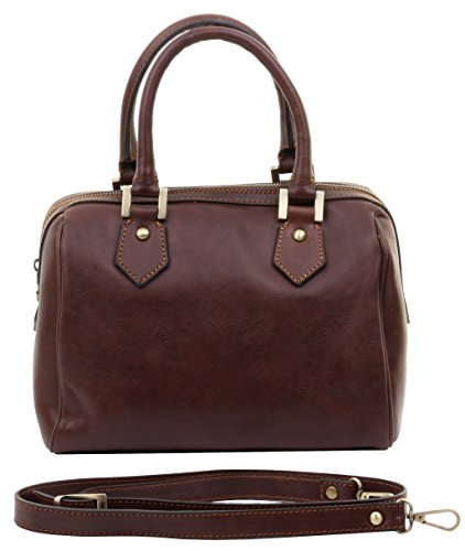 Primo Sacchi (MD) - Sac bandoulière de luxe à bandoulière en cuir italien pour femme, en cuir italien.   Comprend la marque Brown Dark Storage