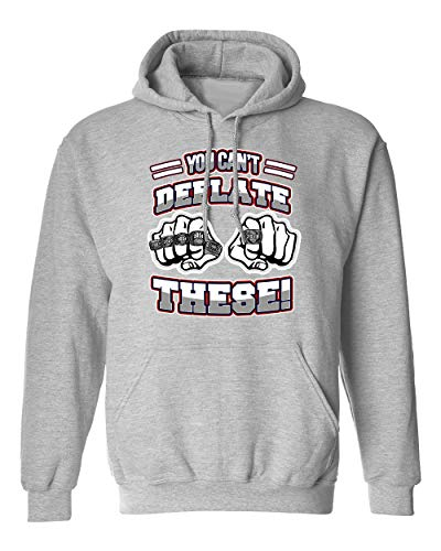 You Can't Deflate These World Champion New England Football DT Sweatshirt Hoodie (Small, Sports Gray)