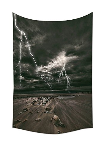 Lake House Decor Tapestry Wall Hanging Lightning Flashes across the Sandy Beach from A Powerful Storm Radiant Beams Print Bedroom Living Room Dorm Decor Grey Brown