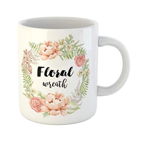 - Semtomn Funny Coffee Mug Pale Pink Garden Flowers Wreath for the Tee Peony 11 Oz Ceramic Coffee Mugs Tea Cup Best Gift Or Souvenir