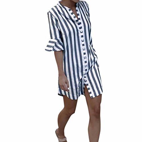 Aimee7 Tops Coton Femme Blouse Femmes Long Shirt Casual Lâche Gris Automne Rayures Flare Soirée Pas Haut Chic A T Chemisier Imprimé Manches Vetements Cher rp1rxC