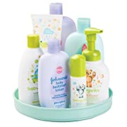 mDesign Lazy Susan Turntable Nursery Organizer for Baby Powder, Lotion, Shampoo - Light Mint