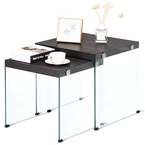 Tangkula Nesting End Coffee Table Set, Modern Furniture Decor Stackable Coffee Tables for Home Office Living Room, Wood Top and Tempered Glass Frame, Multipurpose Side ()