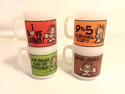 - Glasbake Vintage Milk Glass Coffee Mug Lot Java Junkie Break Time Made In USA