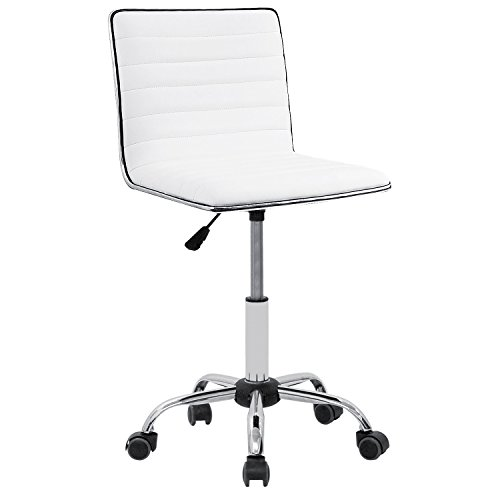 Furmax Mid Back Task Chair,Low Back Leather Swivel Office Desk Chair,Computer Chair with Armless Ribbed Soft Upholstery (Back Molded Foam Task Chair)