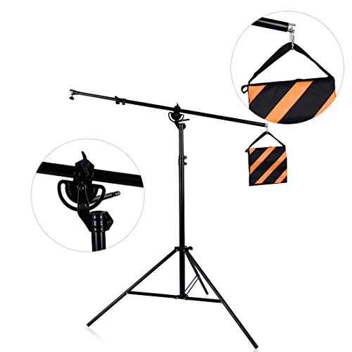 73inch (280cm) Two Way Rotatable Aluminum Adjustable Tripod Boom Light Stand with Sandbag for Studio Photography Video by Konseen