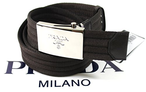 Prada Brown Belt (Prada Nastro Sport 1 Web Logo Plaque Belt, Dark Brown Size 36-38 (95))