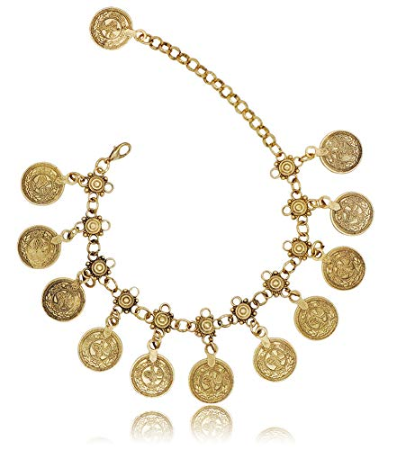 Bienvenu Vintage Coin Ankle Bracelet Tassel Gypsy Festival Beach Bohemian Anklet, Gold